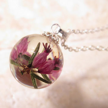 Winter Flowering Heather Sphere Necklace, Froral pendant, plant jewelry, flower jewellery, nature, silver plated chain, pink