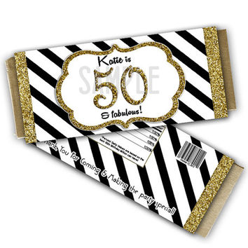 Glitz Gold Milestone Adult Birthday Party Favor Chocolate Candy Wrappers - Personalized Candy Bar Wrapper - Stripe 40th 50th 60th ANY AGE