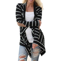 Black white Casual Striped Cardigans
