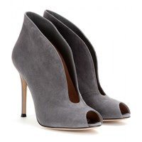 gianvito rossi - vamp suede peep-toe ankle boots