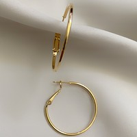 Delicada 30mm Thin Gold Hoops