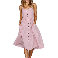Pink Striped Long Buttoned Sundress