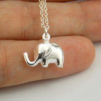 Elephant Necklace, Elephant Jewelry, Silver Elephant Necklace, Sterling Silver 925 Jewelry, Elephant Charm, Lucky Elephant Necklace