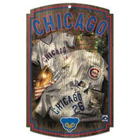 MLB Chicago Cubs 11-By-17-Inch Retro Wood Sign