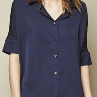SILKY BUTTON UP BLOUSE - NAVY