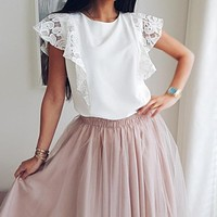 Elegant lace embroidery women top shirt Ruffled female white shirt camis Casual cotton ladies tank tops camisole