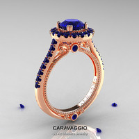 Caravaggio 14K Rose Gold 1.0 Ct Blue Sapphire Engagement Ring, Wedding Ring R621-14KRGBS