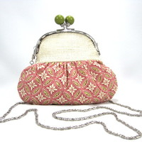 Clutch Purse, Chain, Peach, Cream, Green, Cotton, Burlap