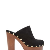 Studded Faux Suede Clogs