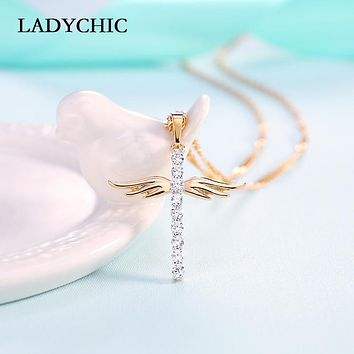 LADYCHIC Angel Wings Cross Pendant Necklace for Girl Women Fashion Style Necklaces Inlaid AAA Crystal Jewelry
