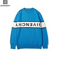Givenchy 2019 new classic white letter stitching round neck pullover sweater blue