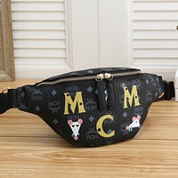 elainse29 MCM Fashion Women Men Waist Bag Bust Bag Print Puppy and mouse print bag black