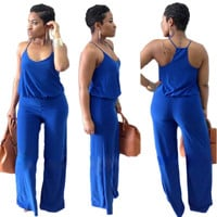 Royal Blue Sleeveless Jumpsuits