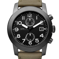 Marc By Marc Jacobs Mens Black Matte Dial Green Leather Strap Watch