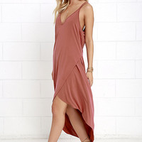 Mood and Melody Washed Red High-Low Dress