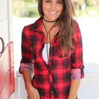 Black and Red Plaid Top