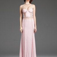 Mignon VM-1015 Pale Pink Embroidered Illusion Back Gown 2015 Prom Dresses