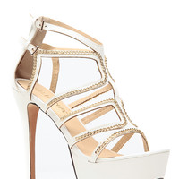 White Chained Cages Platform Heels
