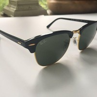 Ray Ban Authentic Clubmaster Sunglasses Black Gold RB 3016 W0365 G15 Green 3N