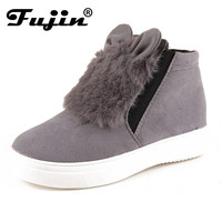 2017 spring autumn slipony Woman Platform  With Ears women winter shoes Boots plush slip on For Student Shoes Female Warm Bota