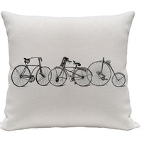Old Bicycle Pillow Cover, Decorative Pillows, Throw Pillows, Accent Pillows, Screenprint Pillow, 20 Inches, Black and White Pillow