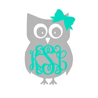 SIX INCH Monogram Owl Car Decal Monogram Owl Laptop Decal Monogram Owl Car Sticker Monogram Owl Car Sticker Owl Monogram Decals Monogram Owl