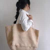 Thomas Brown - extra large tote bag, reversible bag, double sided tote