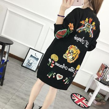2018 Women Sweaters And Pull European New Butterfly Flower Tiger Pattern Heavy Cardigan Medium Single Breasted Sweater Coat