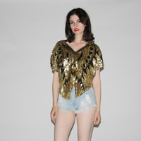 1980s Vintage Gold  Sequin Butterfly Blouse  Trophy Top