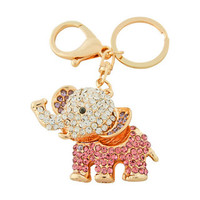 Bead Charmed Jewelry Ltd - ELEPHANT Keychain: 14k Gold plated; Hot Pink Rhinestone