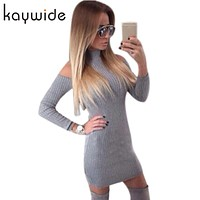 DICLOUD New Arrival Rib Winter Dress Women Turtleneck Off The Shoulder Sexy Dresses Full Sleeve Elegant Bodycon Sweater Dress