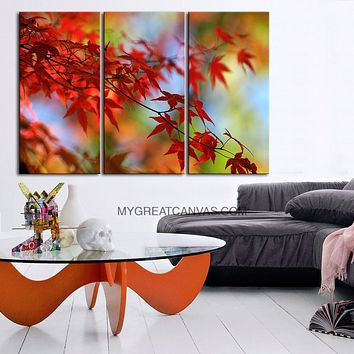 Large Wall Art Canvas Red Leaves and Colorful Autumn Framed 3 Panel Red Leaves Canvas Print