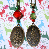 Antique Bronze Christmas Tree Necklace Reversible Holiday Pendant with Reindeer and Tree