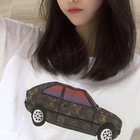 LV Louis Vuitton Stylish Unisex Casual Car Print Short Sleeve Round Collar T-Shirt Top I-XMCP-YC