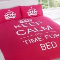 KEEP CALM LUXURY PRINTED DOUBLE BED DUVET COVER BEDDING SET + PILLOWCASE - PINK