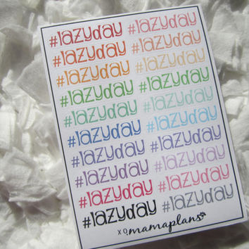 20 Hashtag Lazy Day Stickers for Erin Condren Life Planner/Planners