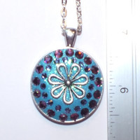 Unique Blue Crystal Clay Decorated with Purple and Lavender Swarovski Crystals and Metal Work Necklace Pendant