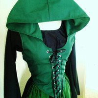 Custom Front Lace Maiden Bodice with Hood in Cotton, Overbust, Ranger, Elf, Elven