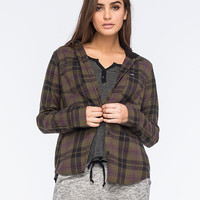 Hurley Wilson Womens Hooded Flannel Shirt Olive  In Sizes