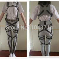 Anime Cos Cosplay Attack on Titan Shingeki no Kyojin Recon Corps Harness belt hookshot Costume Halloween Party Adjustable Belts