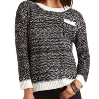 Marled High-Low Pullover Sweater by Charlotte Russe - Black Combo