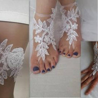3 sets of garter, barefoot sandals, fingerless gloves, white, garter, toss garters, wedding garters, bridal accessores,  free shipping!