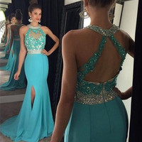 2016 Light Blue Mermaid Prom Dresses Sexy Halter Backless Lace Beading Robe De Soiree Formal Chiffon Front split Prom Gowns