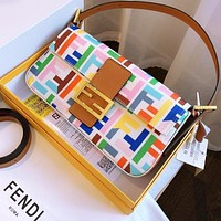 Fendi old flower baguette print cotton and linen embroidery colorful bag