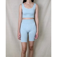 Seamless Leopard Athletic Set (TOP AND BOTTOM SEPARATE) in Aqua Haze