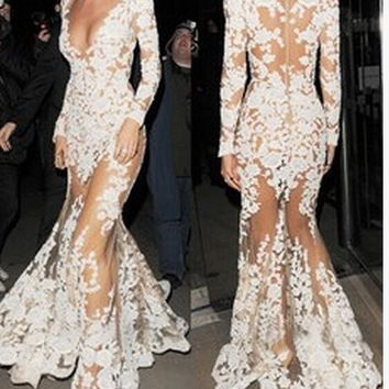 CUTE LONG LACE HOLLOW OUT SEXY LONG DRESS