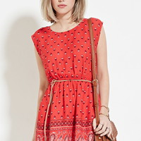 Belted Paisley Print Dress