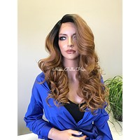 Brown Auburn Balayage Ombré Light Human Hair Blend Curved Parting Lace Front Wig - Angie