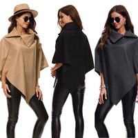 2017 New Fashion Womens Irregular Loose Bat Sleeves Turn-down Neck Poncho Cape Coat #20