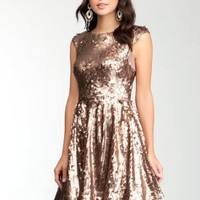 bebe Low Back Fit &Flare Sequin Dress Spcl Events/eve Dresses Chocolate-l: Clothing